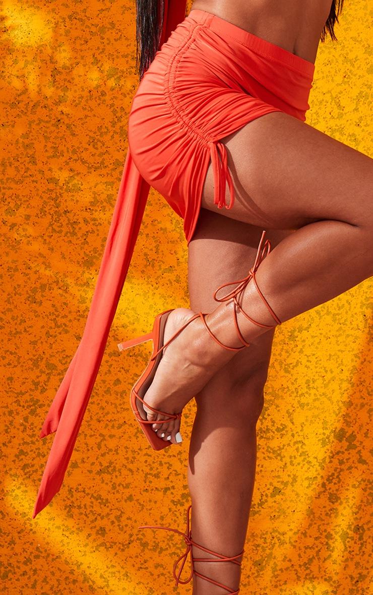 Orange Ruched Mini Skirt 6