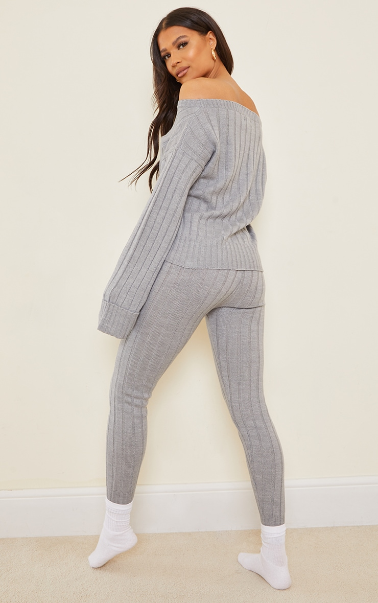 Grey Bardot Jumper And Legging Lounge Set 2