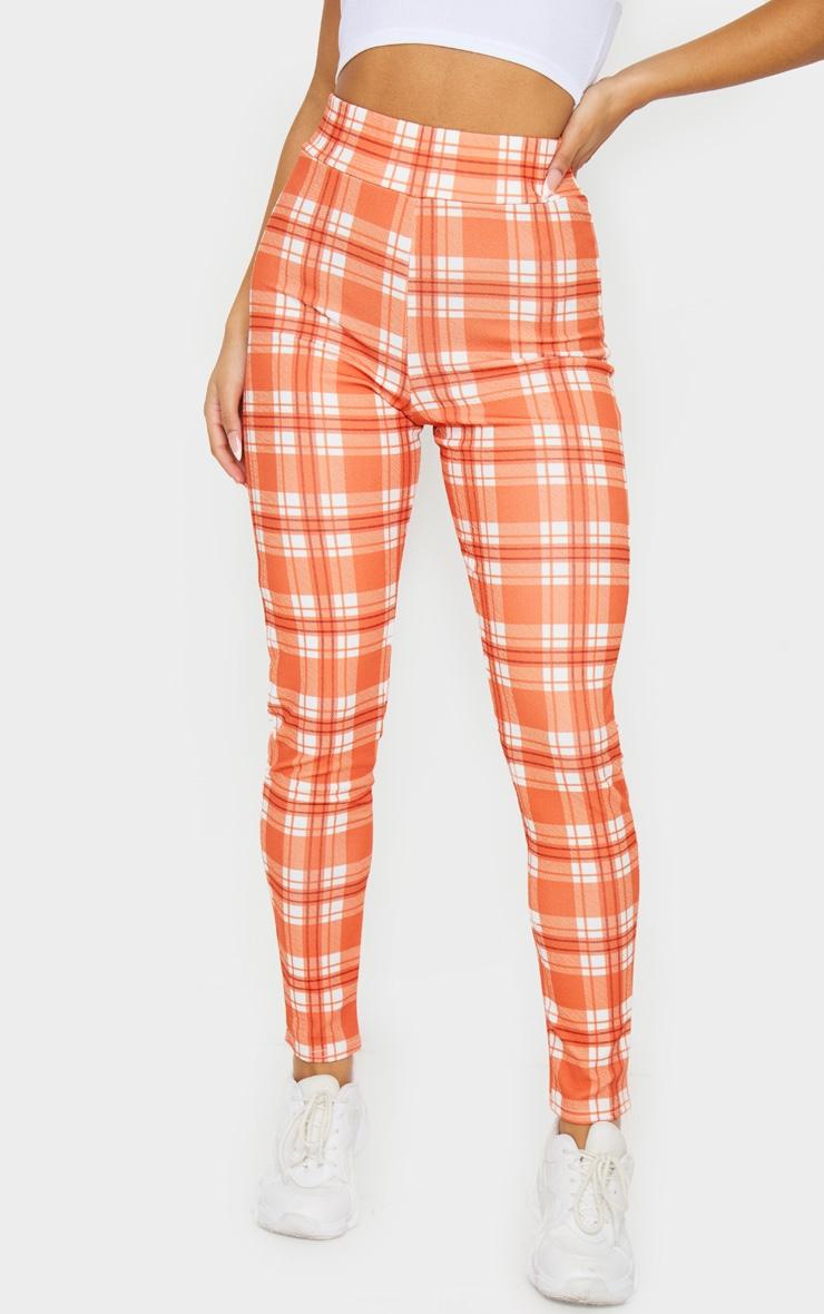 Orange Check Skinny Pants 2