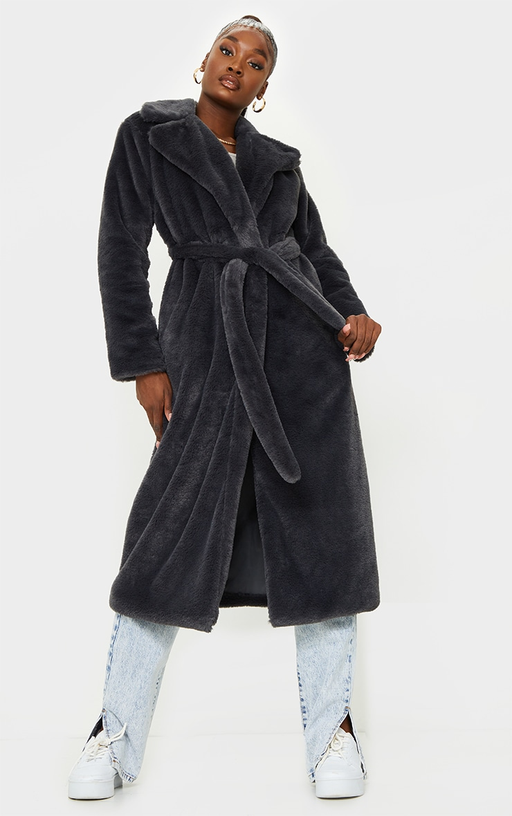 Tall Grey Belted Faux Fur Coat 1