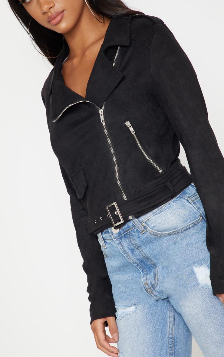 Petite Black Faux Suede Biker Jacket 5
