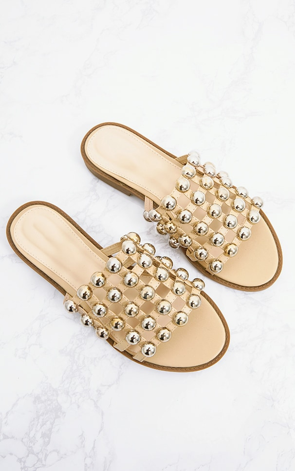 Nude Large Studded Slides 5