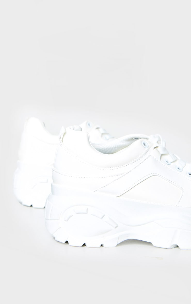 White Chunky Lace Up Trainers 3