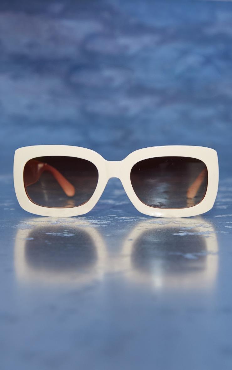 Plt Gothic Initial Cream Square Frame Sunglasses 2