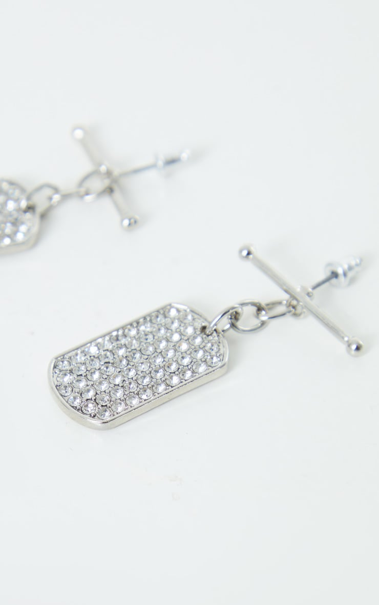 Silver T Bar Diamante Dog Tag Earrings 4