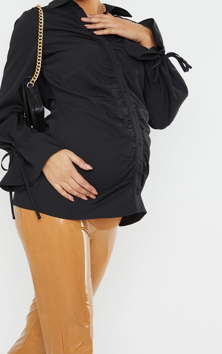 Maternity Black Ruched Bump Detail Blouse 4
