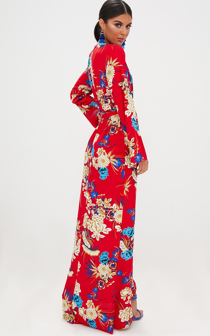 Red Floral Print Kimono Maxi Dress 2