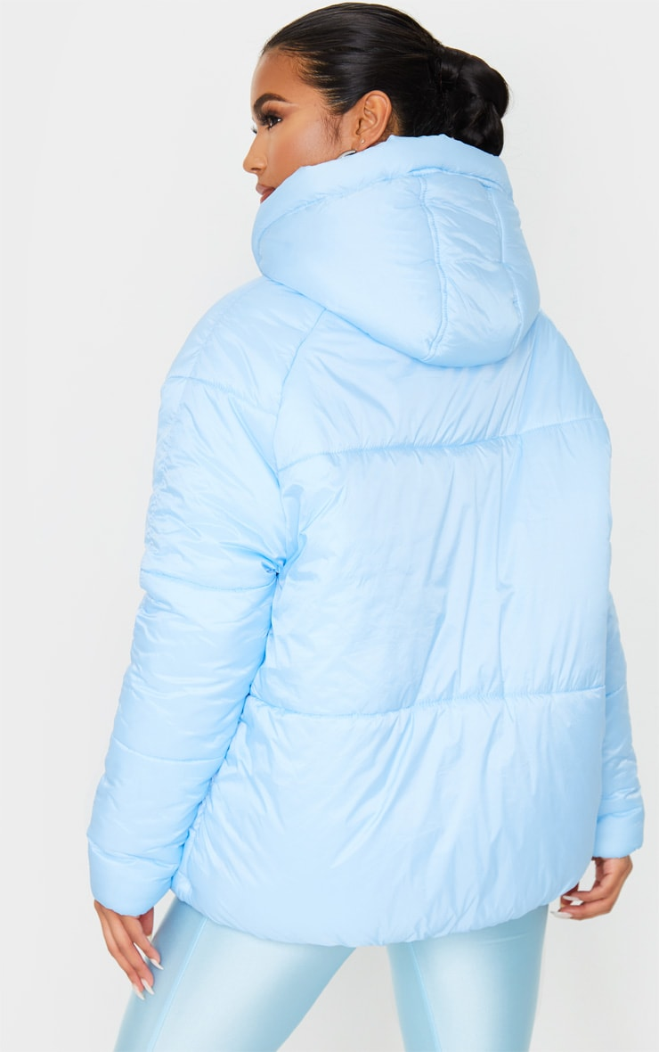Light Blue Pocket Front Hooded Puffer 3
