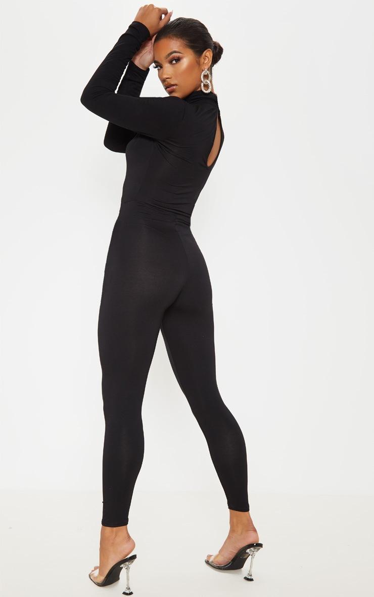 Basic Black Cotton Blend Roll Neck Long Sleeve Jumpsuit 2