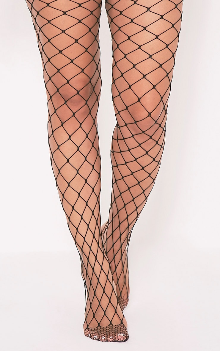 Inari Black Large Fishnet Tights