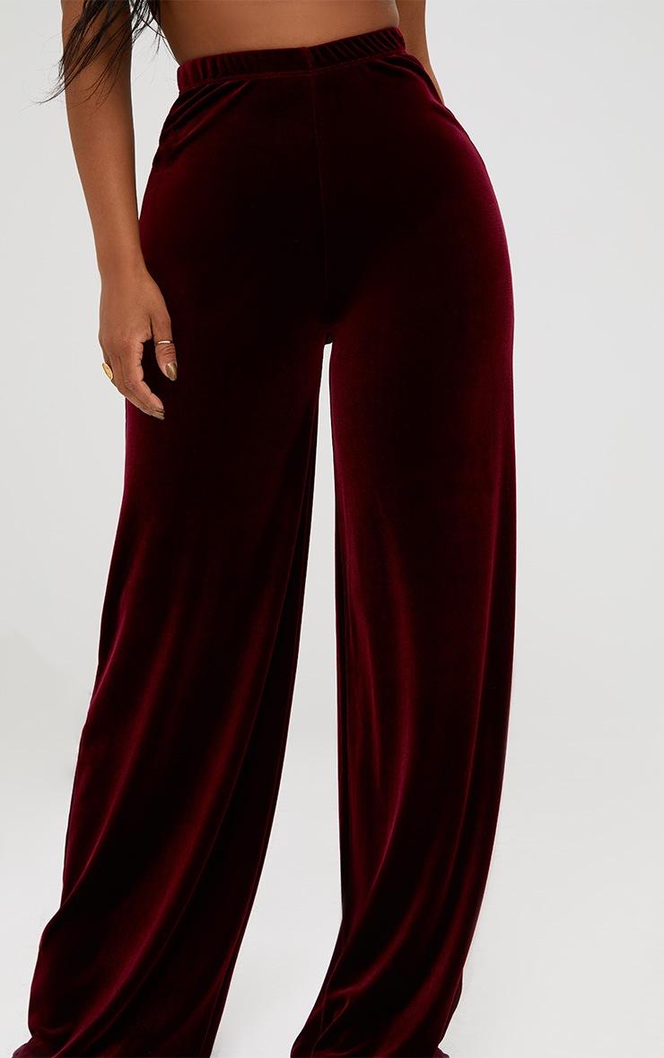 Shape Wine Velvet Wide Leg Trousers  5