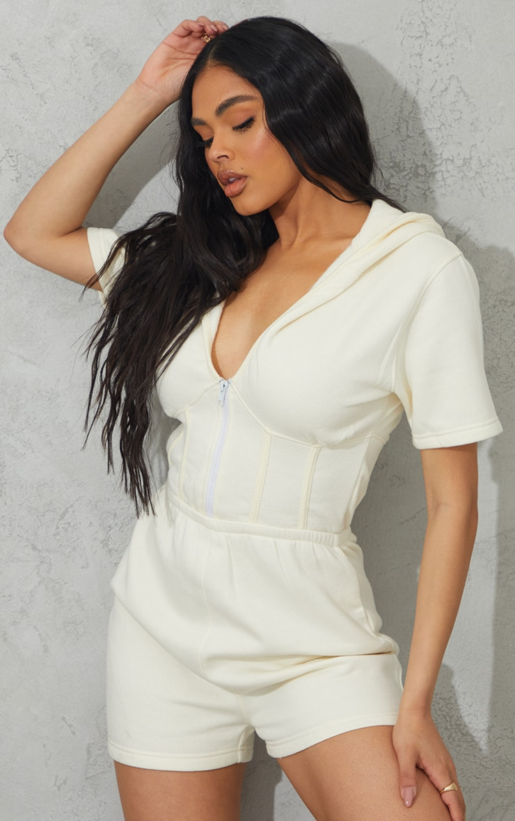 Cream Corset Detail Sweat Hooded Playsuit 1