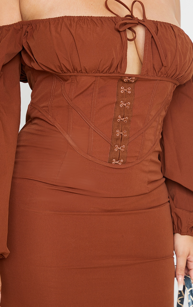 Plus Chocolate Brown Corset Detail Bardot Puff Sleeve Bodycon Dress 4