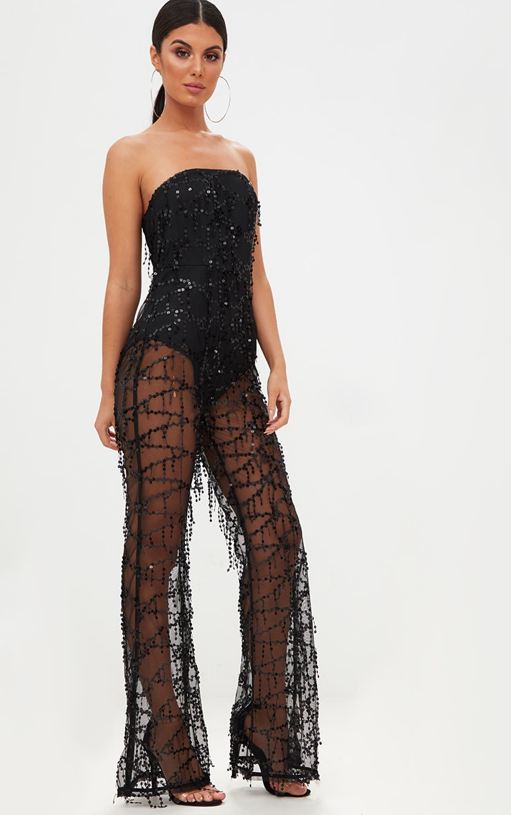 Black Sequin Bandeau Jumpsuit 4