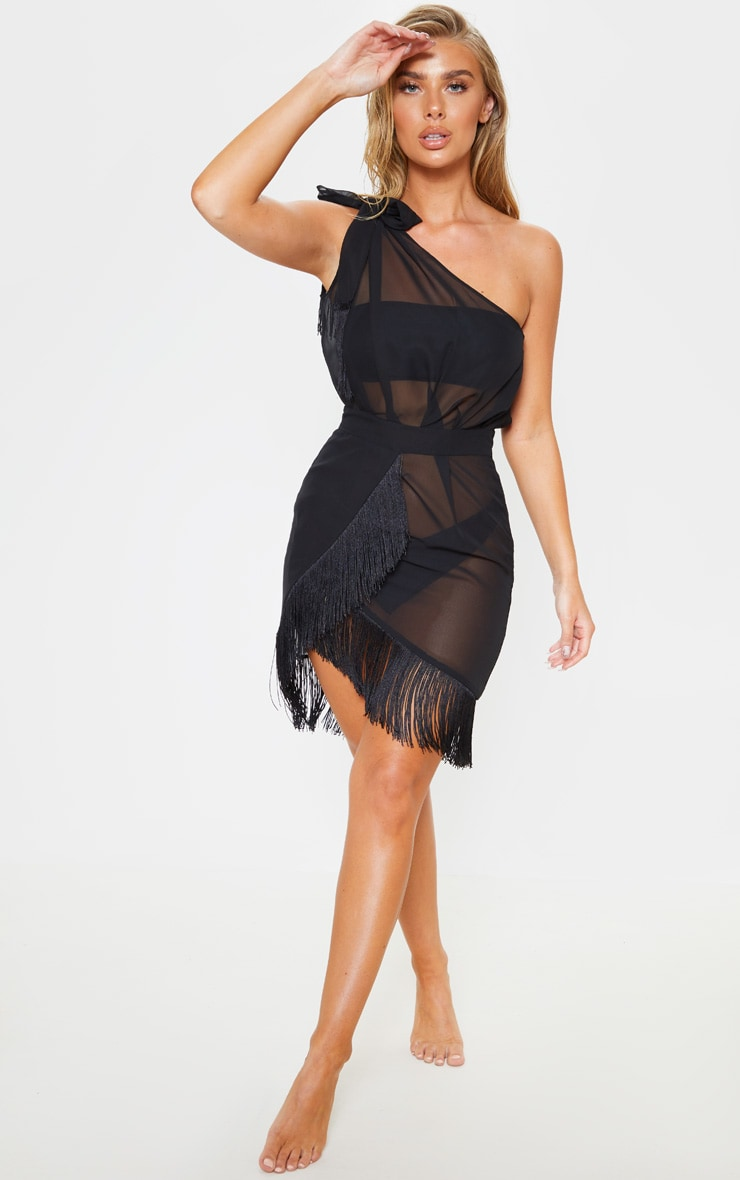 Black Asymmetric Fringe Beach Dress 4