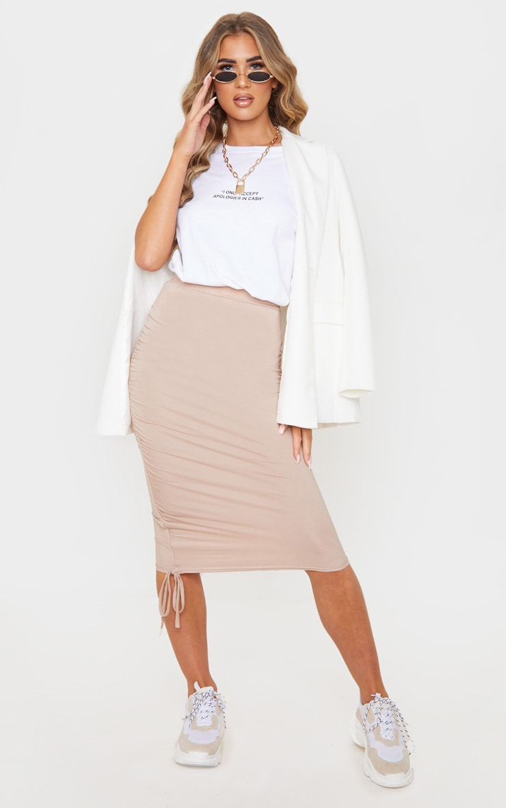 Stone Jersey Ruched Side Detail Midi Skirt  6