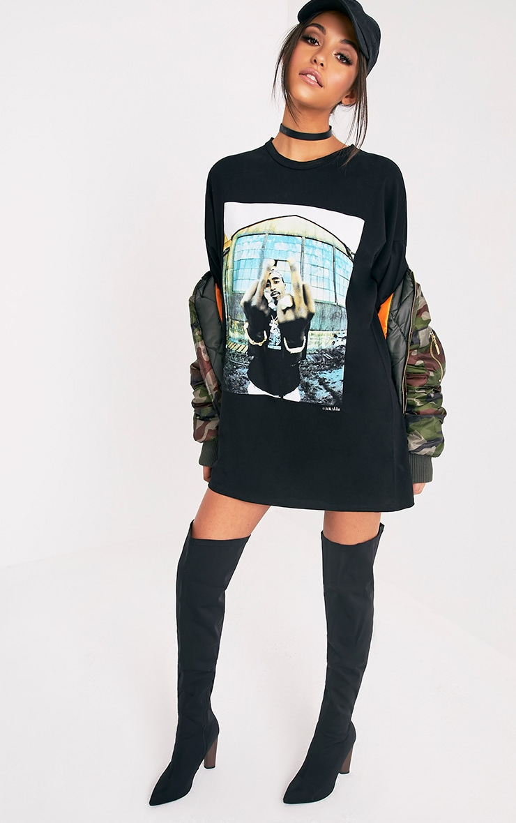 Tupac Black T-Shirt Dress 5
