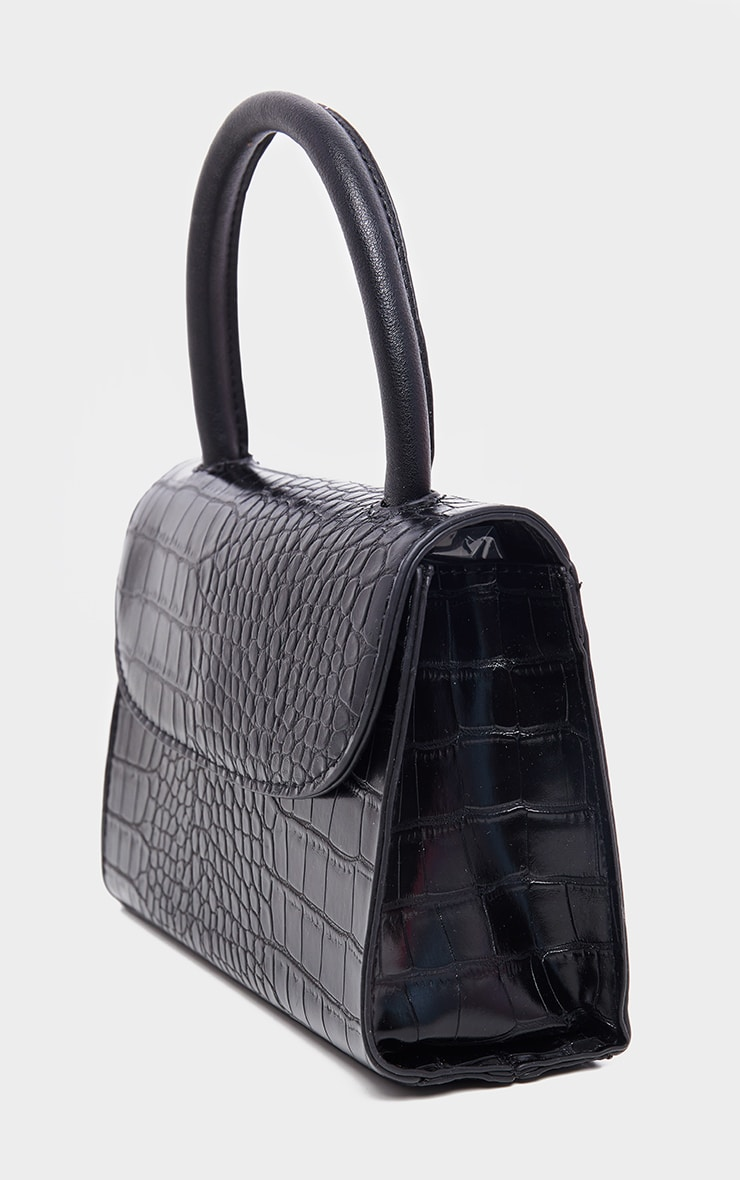 Black Croc Single Handle Cross Body Bag 3