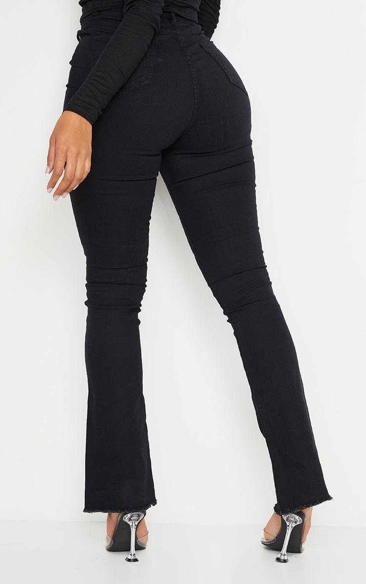 Shape Black Stretch Fray Hem Flared Jean 3