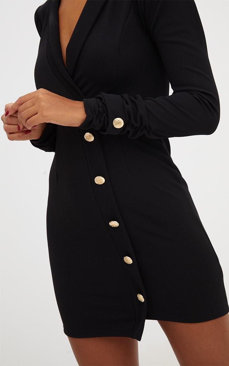 Black Gold Button Ruched Sleeve Blazer Dress 5