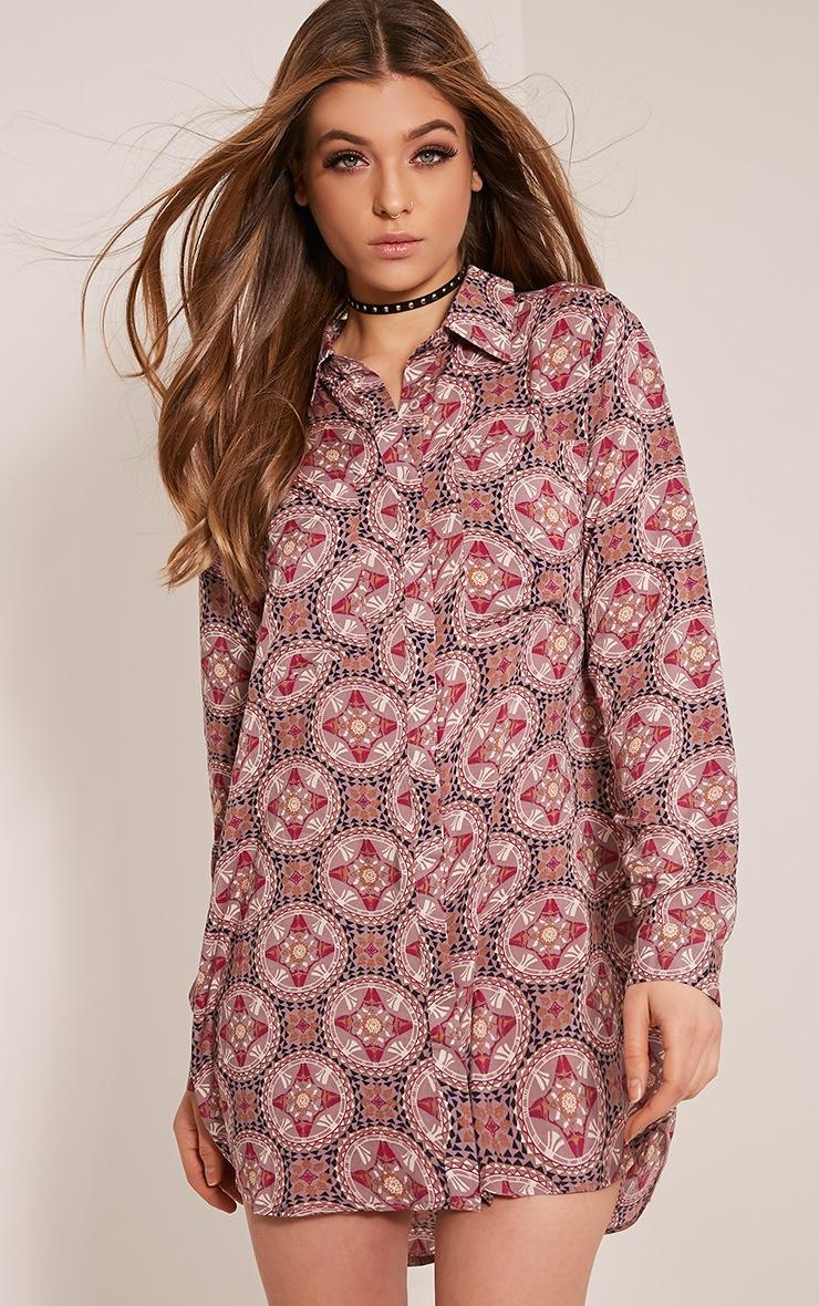 Tricia Mink Aztec Printed Shirt Dress 1