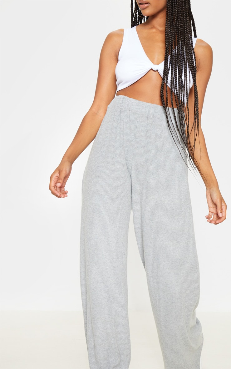 Light Grey Brushed Rib Wide Leg Trouser 5