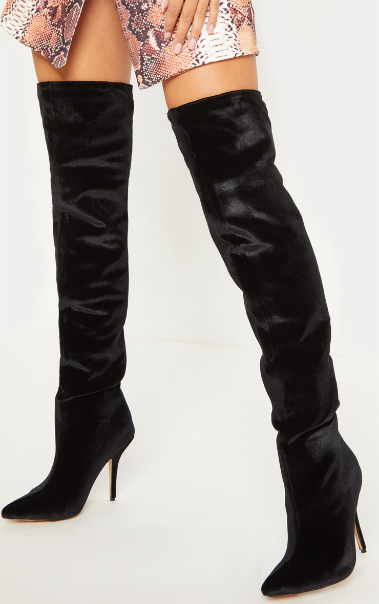 Black Velvet Over The Knee Mid Heel Boot 2