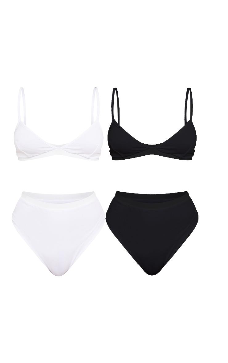 2 Pack Black & White Basic Jersey Bra And Panties Set 1
