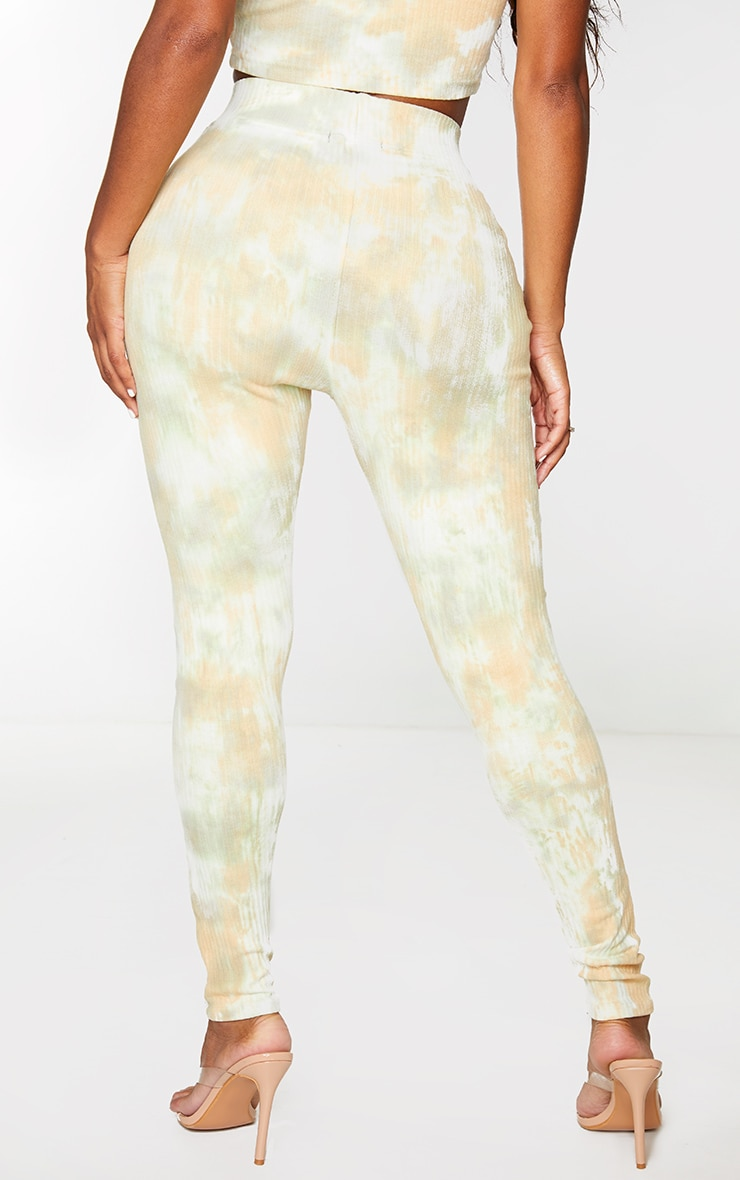 Shape Sage Green Tie Dye Thick Rib Leggings 3