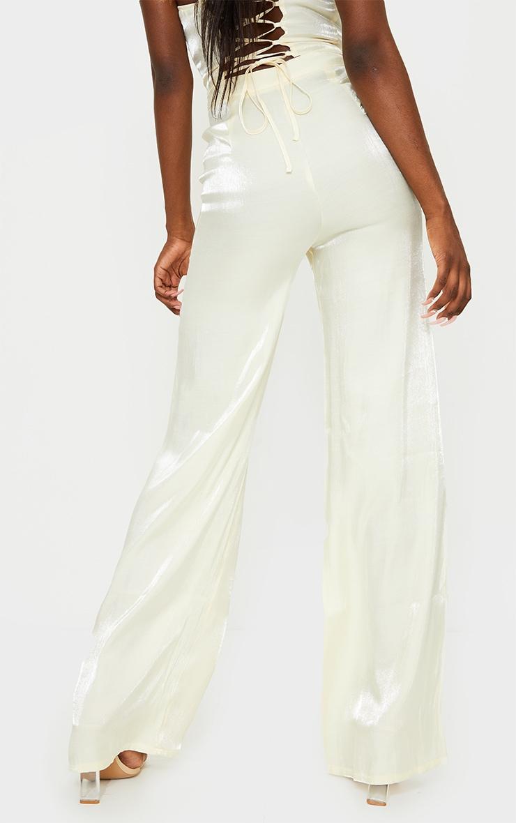 Tall Cream Wide Leg Trouser 3