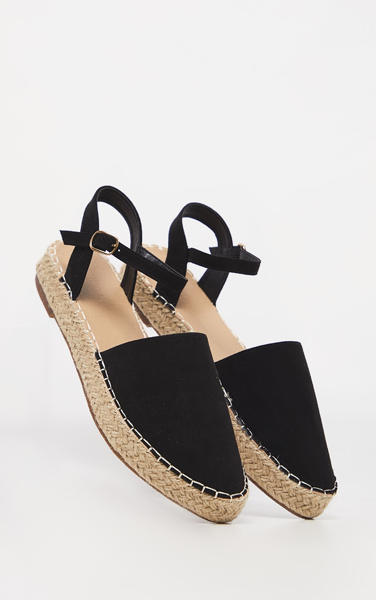 Black Espadrille Flat Sandal 3
