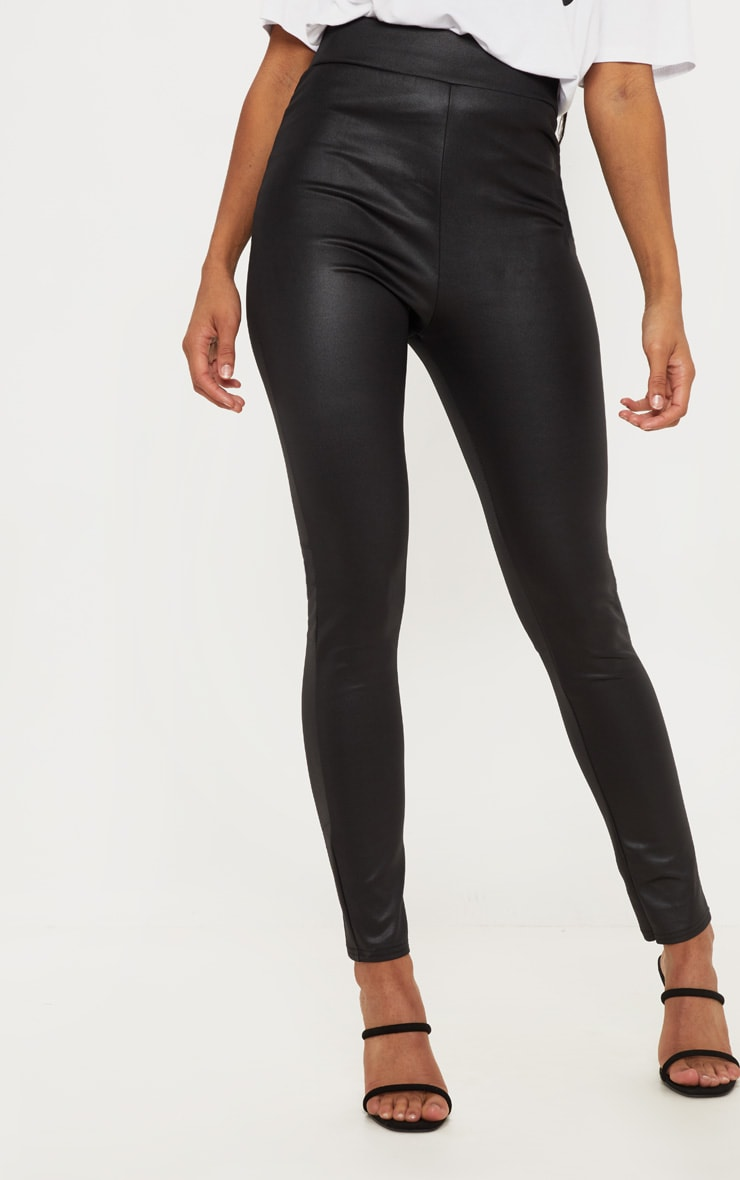 Black Wet Look Skinny Trouser 2