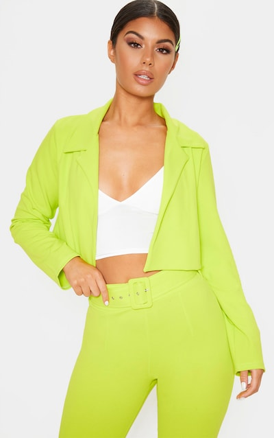 Neon Lime Cropped Suit Blazer