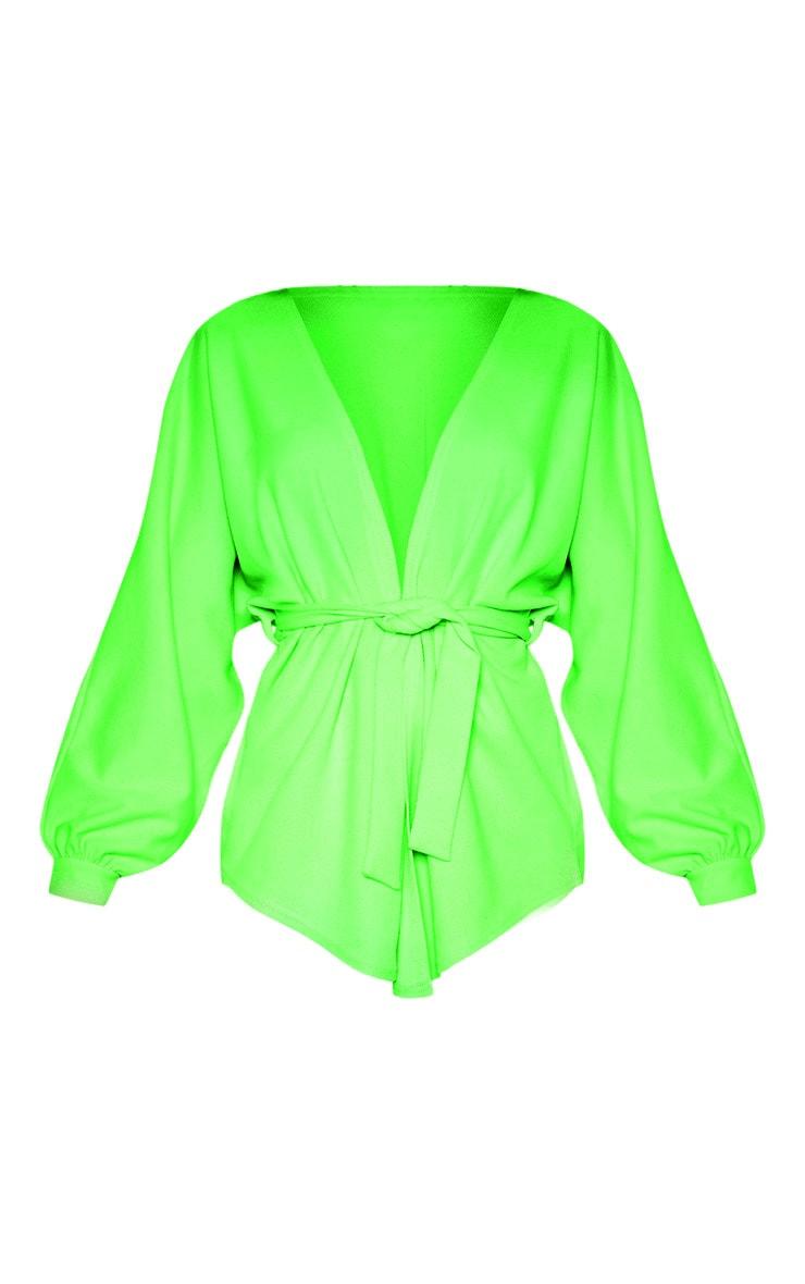 Blazer vert citron ceinturé à manches oversize 2