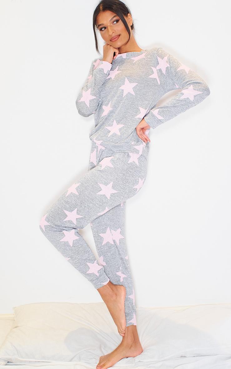 Grey and Pink Star Print Long PJ Set 3