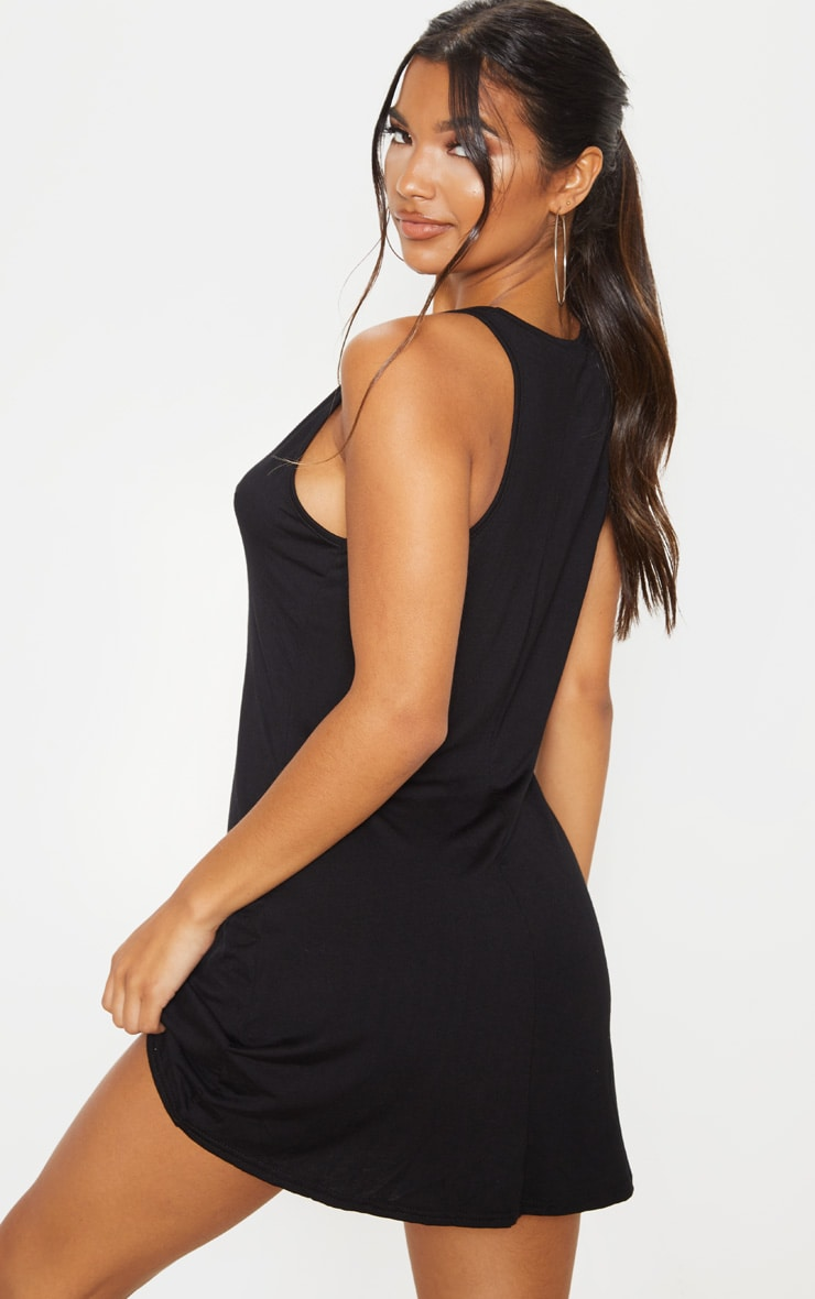 Black Jersey V Plunge Sleeveless Shift Dress  2