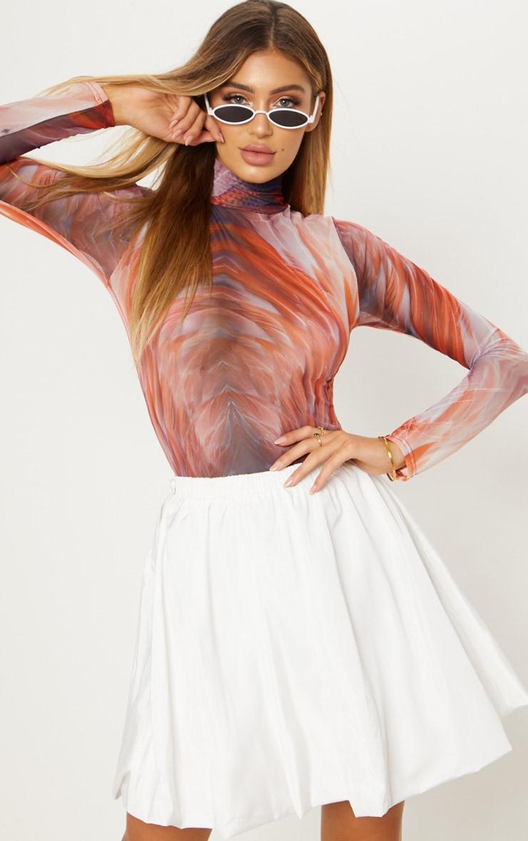 White Shell Toggle Side Detail Mini Skirt 1