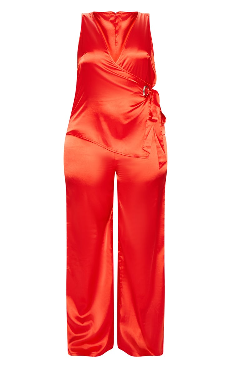 Plus Red Wrap Wide Leg Jumpsuit 3