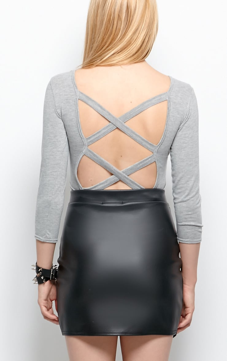 Kate Grey Cross Back Crop Top  2
