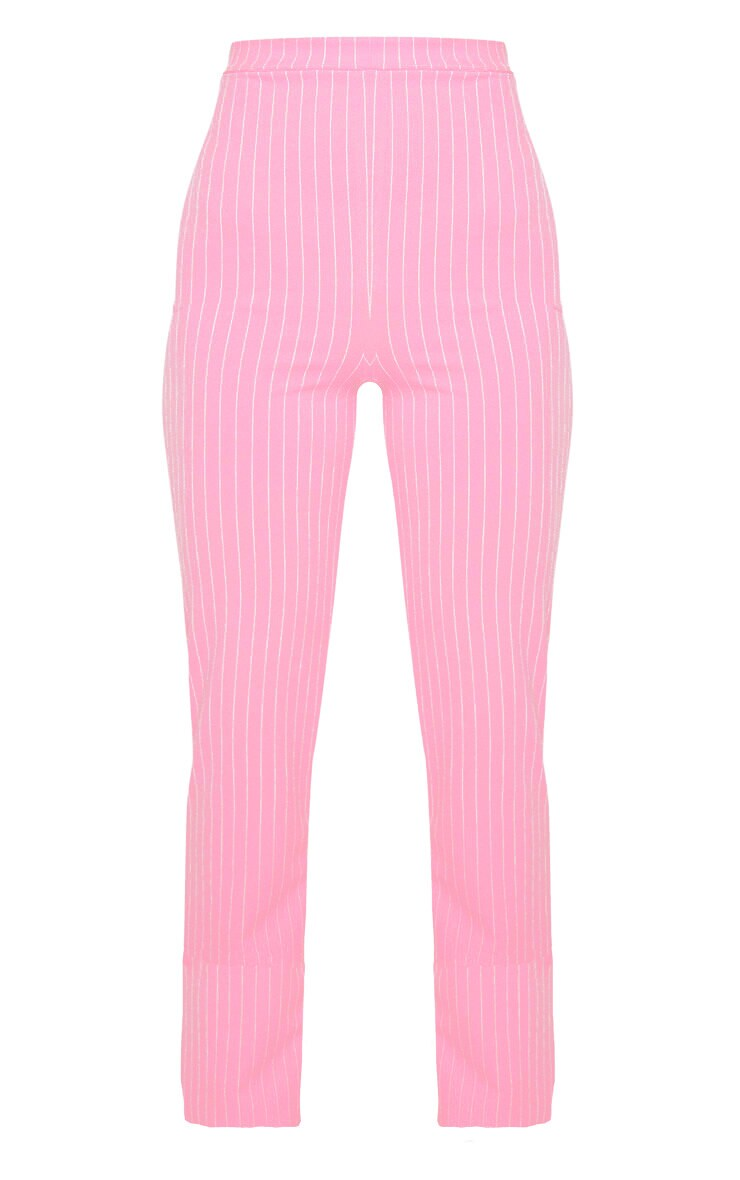 Pink Pin Striped Straight Leg Trouser  3