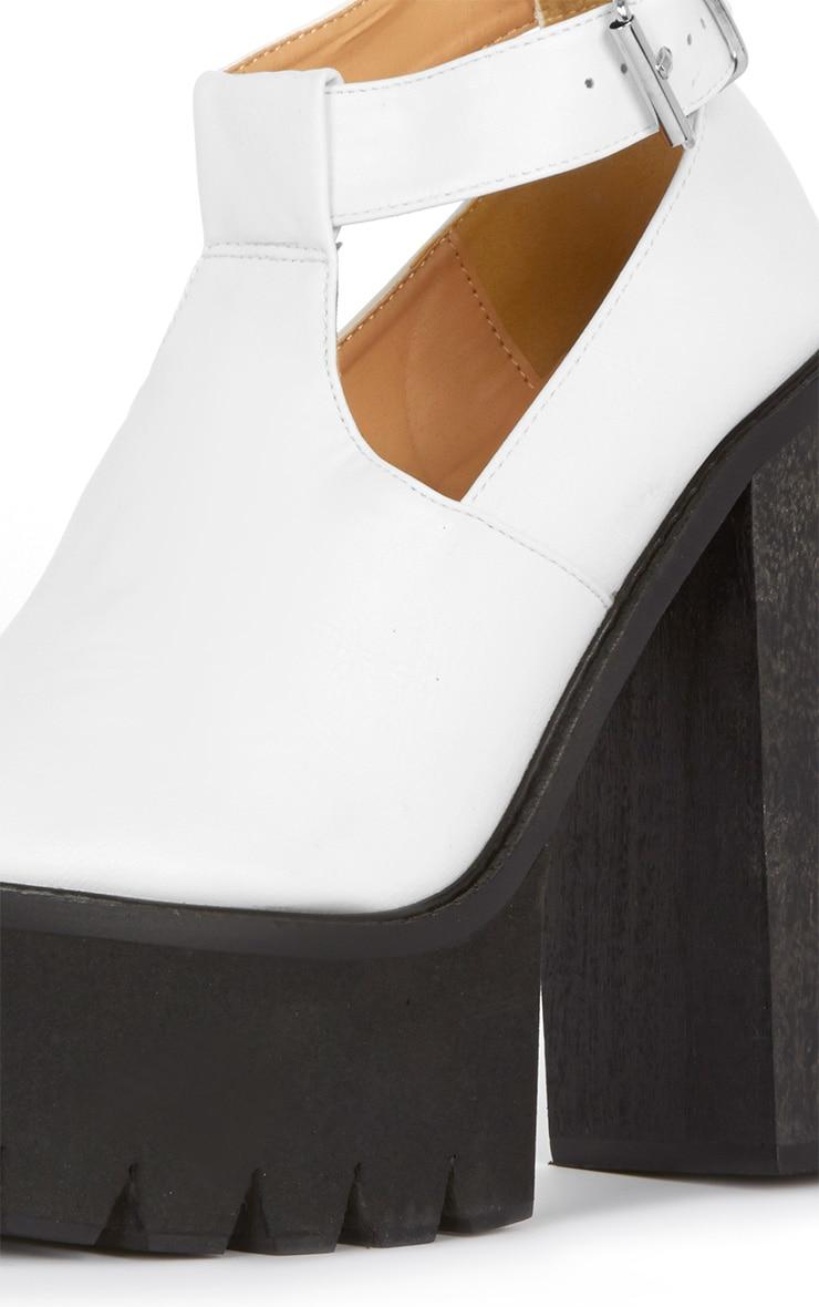 Felicia White Chunky Heel Ankle Strap Sandal 2