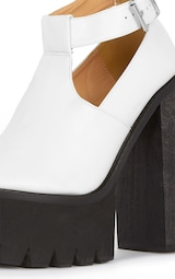 73e21bb64a5 Felicia White Chunky Heel Ankle Strap Sandal