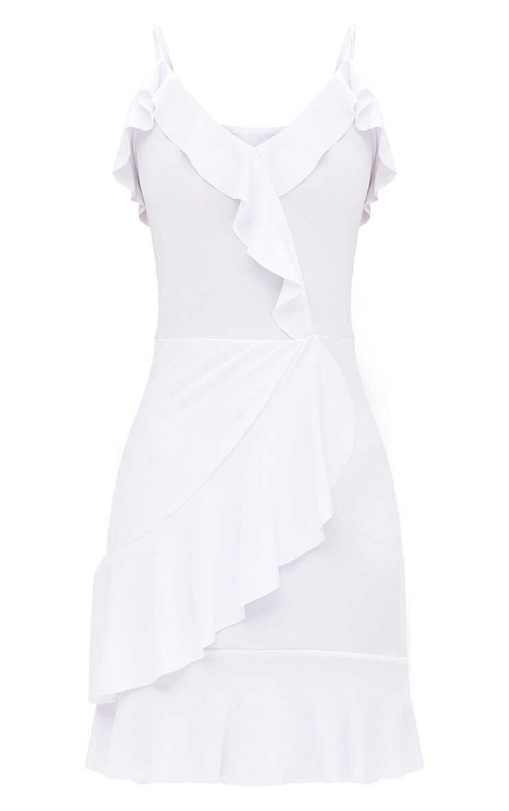 White Strappy Wrap Frill Detail Bodycon Dress 3