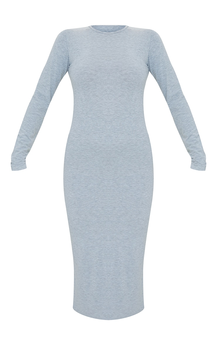 Grey Scoop Neck Jersey Long Sleeve Midi Dress 5