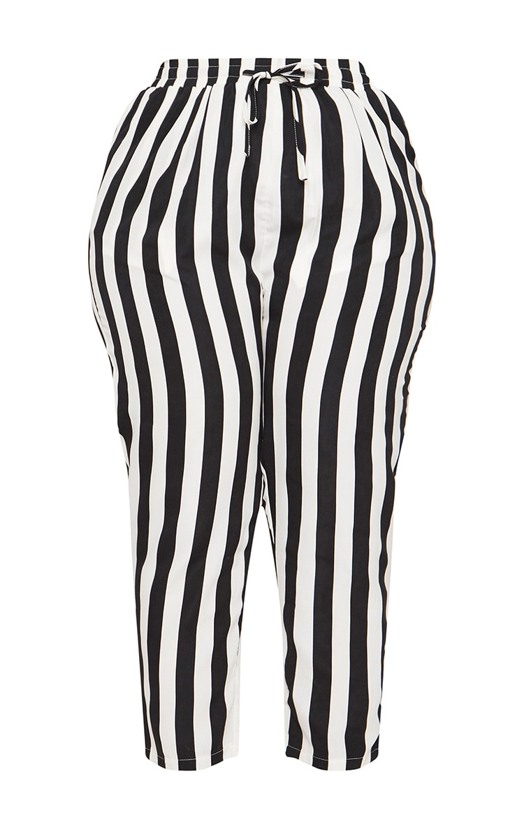 Plus Black Striped Casual Pants  3