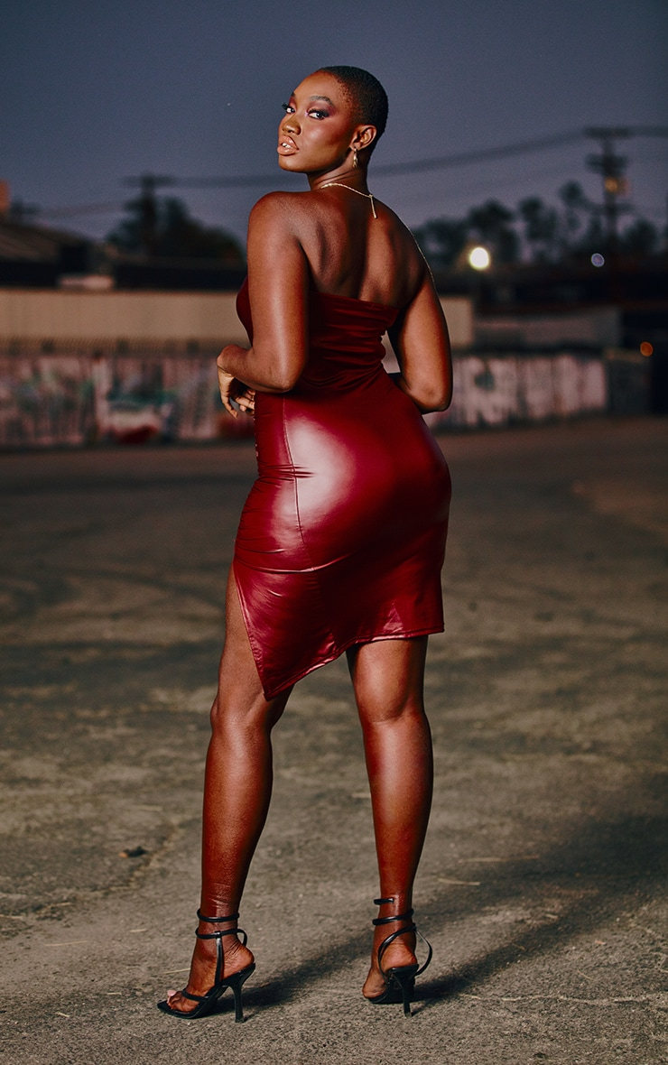 Burgundy PU Ruched Front Bandeau Bodycon Dress 2