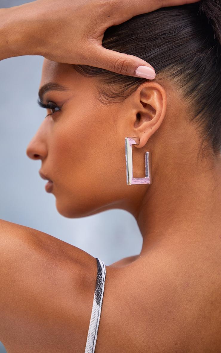 Silver 3 Pack Square Hoop Earrings 1