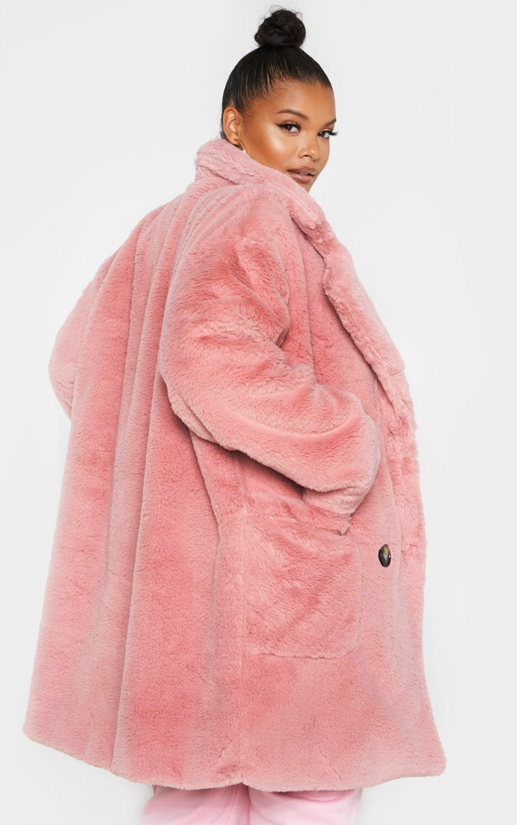 Plus Rose Faux Fur Double Breasted Coat 2