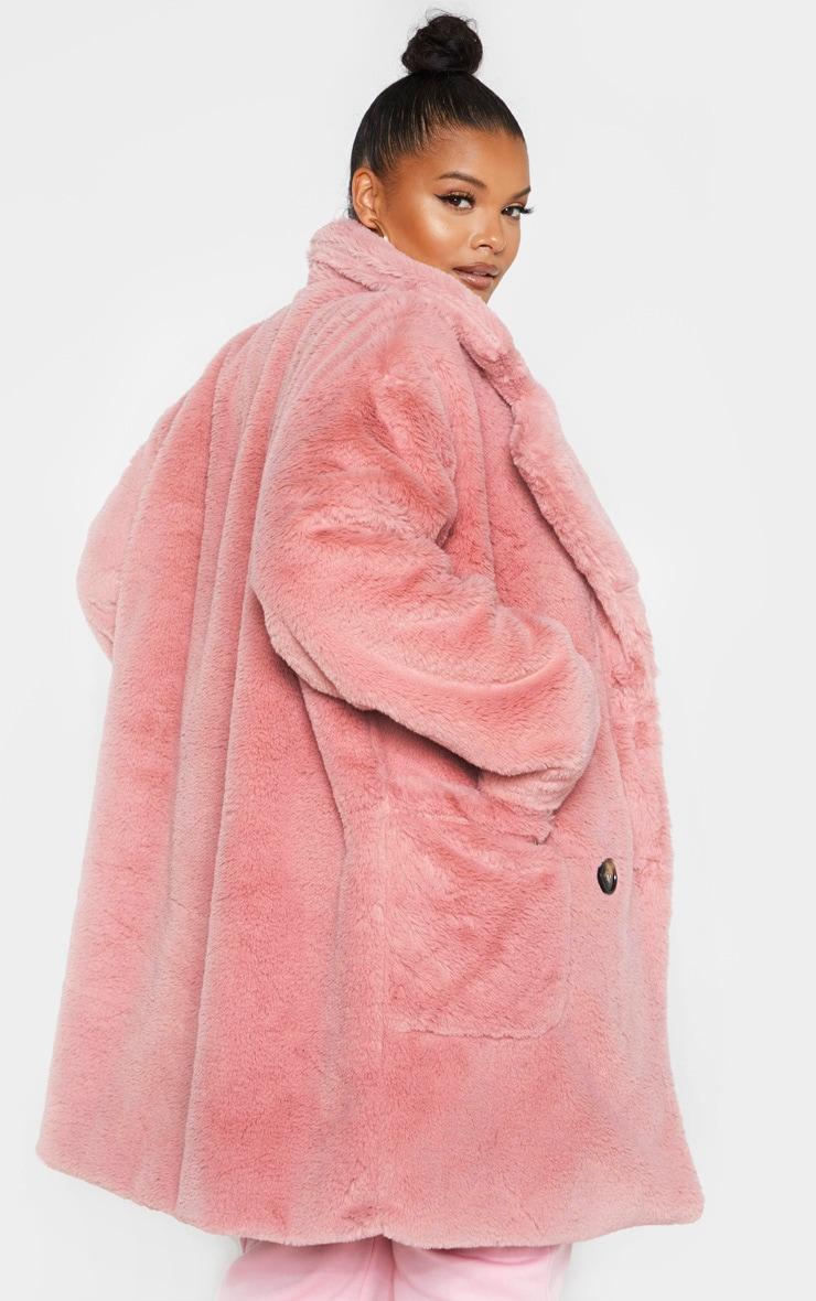 PLT Plus - Manteau croisé en fausse fourrure vieux rose 2