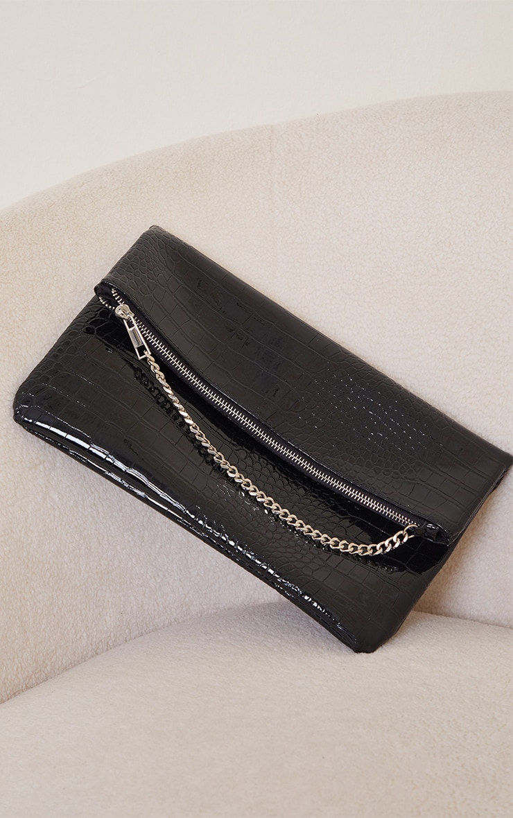 Black PU Snake Oversized Foldover Clutch Bag 2